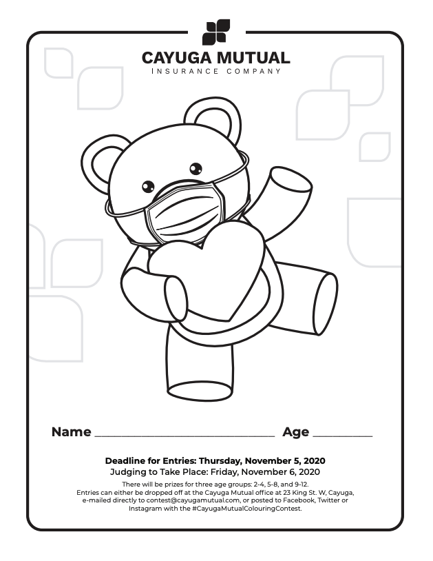 Teddy Bear With mask Colouring sheet