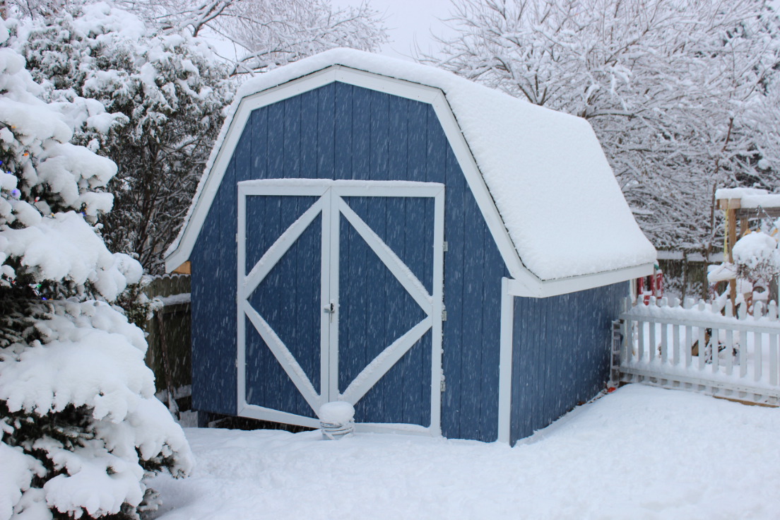 Outdoor shed in winter